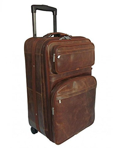 "AmeriLeather 25"" Expandable Suitcase with Wheels (Waxy Brown)"