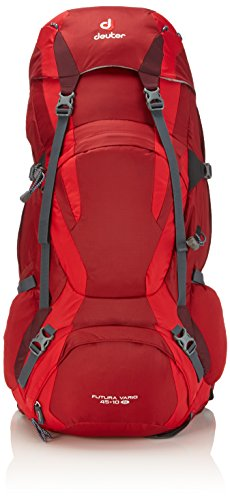 Deuter Futura Vario 45+10 SL - Height-Adjustable Hiking Backpack, Cranberry/Fire/Aubergine