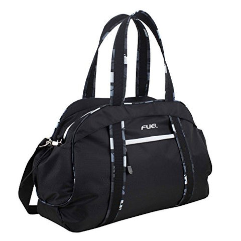 Fuel Sport Carryall Duffel For Gym, Travel or Weekend Gateway, Black with White Zippers