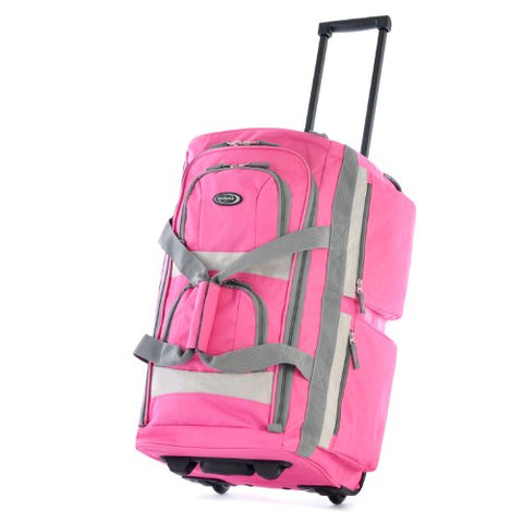 "Olympia 26"" 8 Pocket Rolling Duffel, Hot Pink"