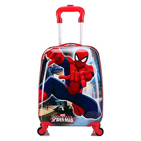 WCK Travel Kid's Luggage 18inch Carry on Hard Side Upright Cartoon Spinner Luggage Rolling (spiderman)