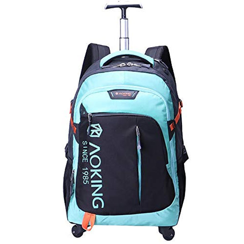 Bmhff Freewheel Wheeled Laptop Backpack, Lightweight Waterproof Rolling School College Bag Business
