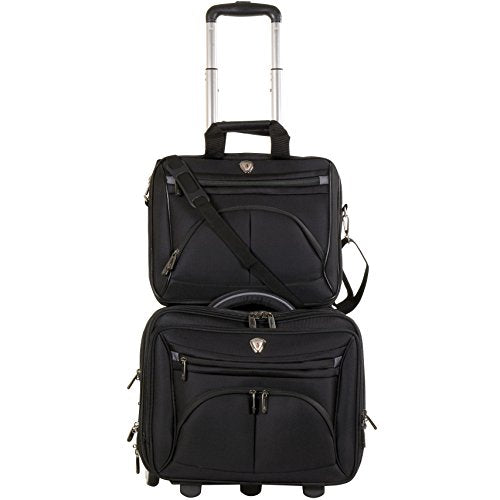 Calpak Ceo Black 2-Piece Rolling Laptop Briefcase Set