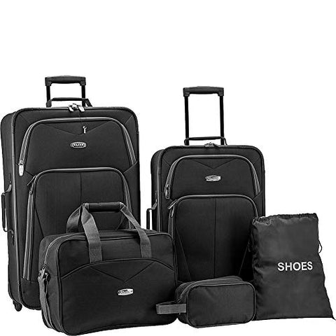 Elite Luggage Whitfield 5 Piece Softside Lightweight Rolling Luggage Set (Black)