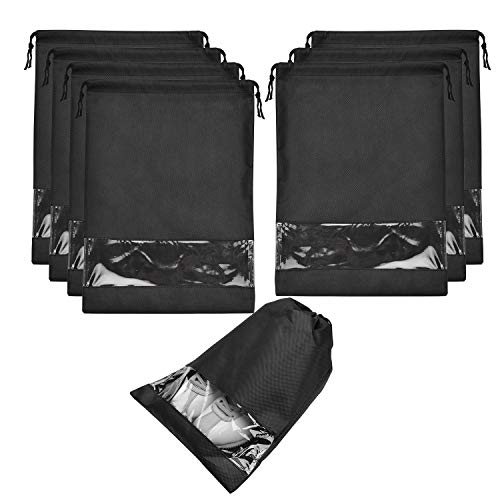 8 pcs Shoe bags for Travel Storage Dust-Proof Drawstring with Window (Black)