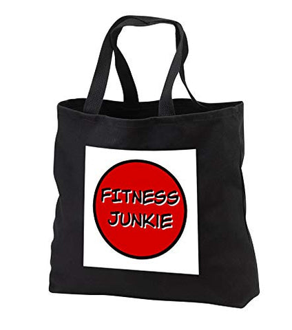 Carrie 3drose Merchant quote - Image of Fitness Junkie - Tote Bags - Black Tote Bag JUMBO 20w x 15h