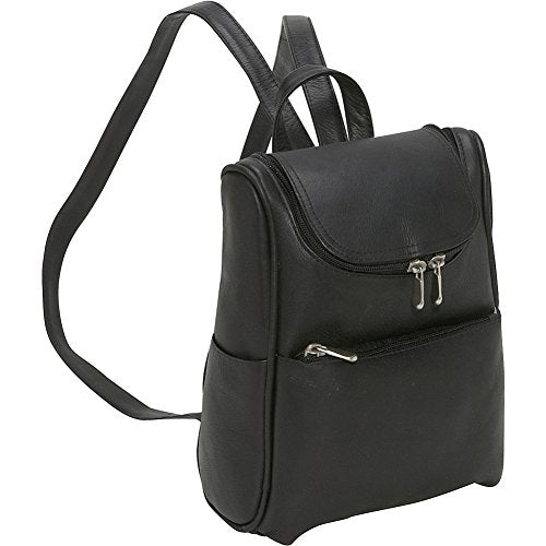 Le Donne Leather Women's Everyday Backpack Purse (Black)