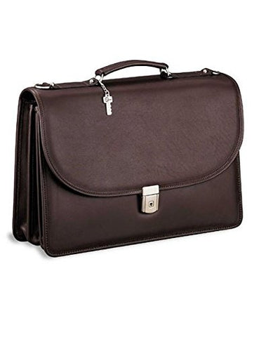 Jack Georges [Personalized Initials Embossing] Platinum Triple Gusset Flap Over Leather Briefcase in Brown