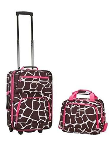 Rockland 2 Piece Pink Giraffe Luggage Set F102-Pinkgiraffe Luggage New