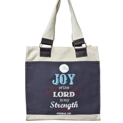 "Retro Blessings ""Joy"" Navy Canvas Tote Bag - Nehemiah 8:10"