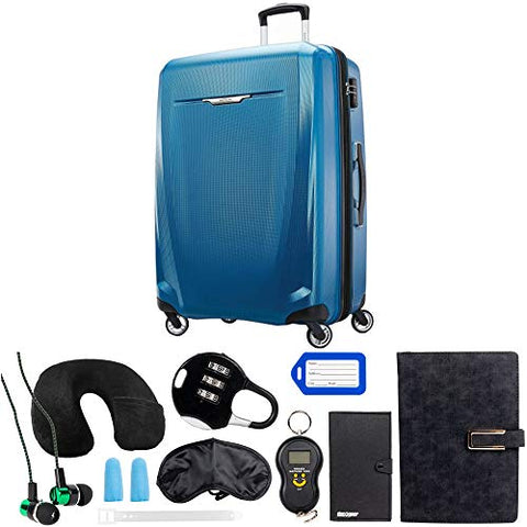 Samsonite Winfield 3 DLX Spinner 78/28 Checked Luggage, Blue (120754-1112) with Deco Gear 10 Piece Luggage Accessory Ultimate Travel Bundle