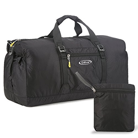 G4Free 60L Lightweight Foldable Portable Travel Duffel Bag for Gym Sports Luggage Camping(Black)