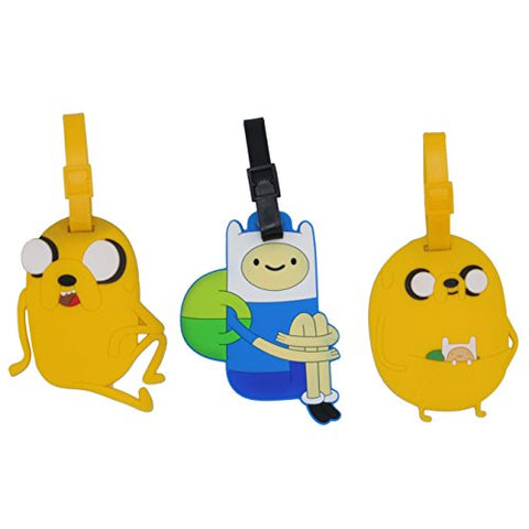 Set Of 3 - Super Cute Kawaii Cartoon Silicone Travel Luggage Id Tag For Bags (Adventure Time)