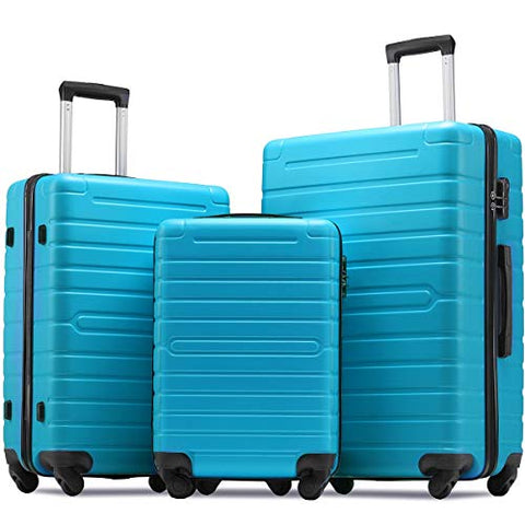 Flieks Luggage Sets 3 Piece Spinner Suitcase Lightweight 20 24 28 inch (Sky.blue)