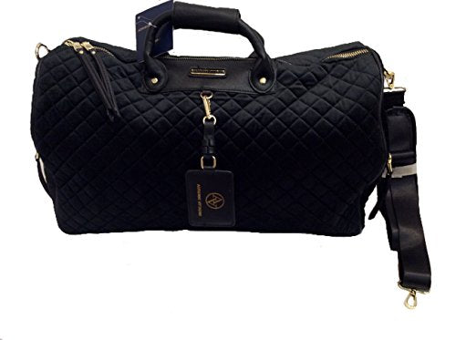 Adrienne Vittadini Diamond Quilted Velvet Extra Large Travel Plush Duffle Bag - Black