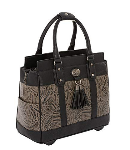 "The Dallas Black & Grey Tooled Rolling iPad Tablet or Laptop Tote Carryall Bag (17""/17.3"" inch)"