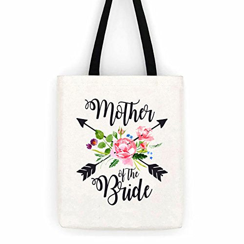 Mother of the Bride Floral Arrows Cotton Canvas Tote Bag School Day Trip Bag