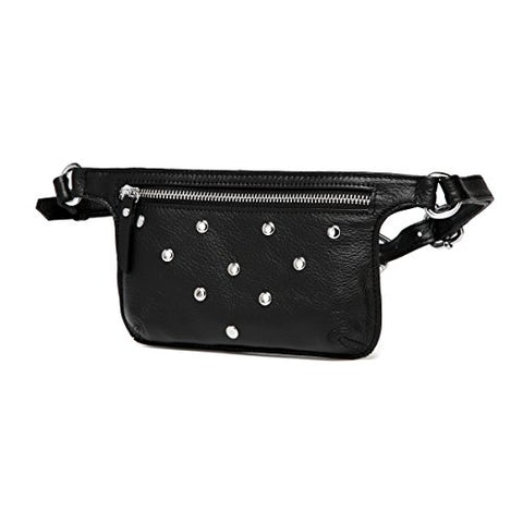 Jacey Studded Leather Waistbag - Black