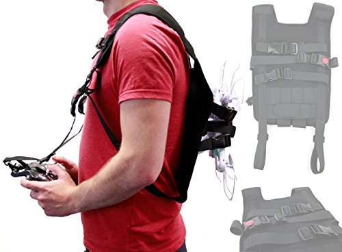 DURAGADGET Black Drone Carry Backpack with Safety Straps Compatible with The Yuneec Typhoon Q500