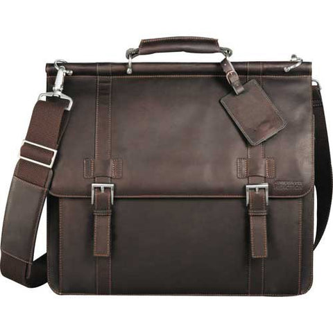 "Kenneth Cole Colombian Leather Dowel Rod 15.6"" Laptop Computer Messenger"
