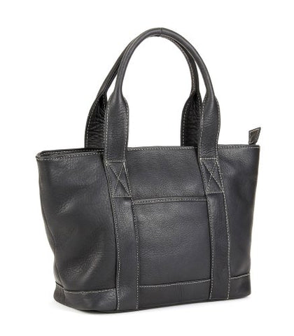 Le Donne Leather Double Strap Small Pocket Tote (Black)