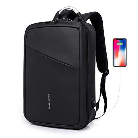 Convertible Slim Backpack 15 Inch Laptop Anti Theft Business School Travel Water Resistant Daypack Bag with USB Black Briefcase Backpack