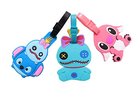 Set of 3 - Super Cute Kawaii Cartoon Silicone Travel Luggage ID Tag for Bags (Stitch 2)