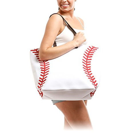 Me Plus Sports Baseball-Softball Design Tote Hand Bags / Fashion Shoulder Bags / X-Large 21 In.