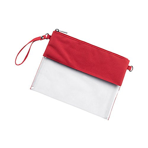 Red Custom Stadium Clear Zip Pouch With Detachable Crossbody Strap And Wristlet