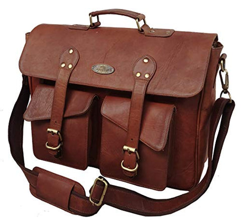 16 Inch Rustic Vintage Leather Messenger Bag Laptop Bag Briefcase Satchel Bag