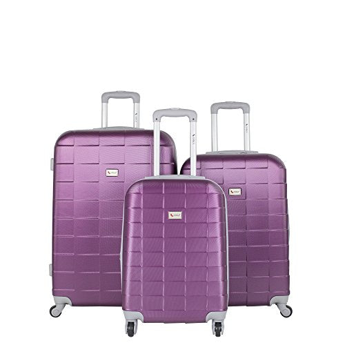 Amka Lightweight Abs Spinner Expandable Luggage Set, Grape, 3 Piece