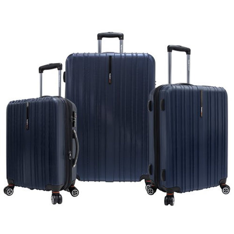 Traveler'S Choice Tasmania 100% Polycarbonate Expandable 8-Wheel Spinner 3-Piece Luggage Set With