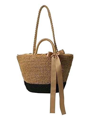 Straw Bag Beach Handbag Summer Bag Lightweight Holiday Style [Brown And Black]
