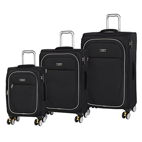 IT Luggage Lockdown 8 Lightweight Expandable 3 Piece Set with Wheel Locks, Black