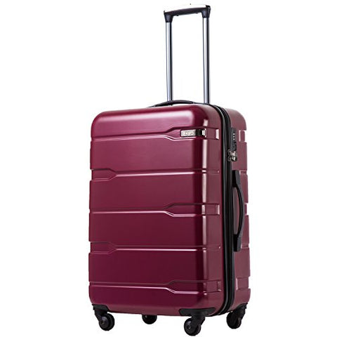 "COOLIFE Luggage Expandable(only 28"") Suitcase PC+ABS Spinner Built-in TSA Lock 20in 24in 28in Carry on (Radiant Pink, L(28in).)"