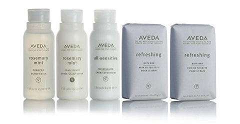 Aveda Amenities Luxury Travel Set- 1 Shampoo, 1 Conditioner, 1 Moisturizer (1.5Oz) 2 Bath Bar