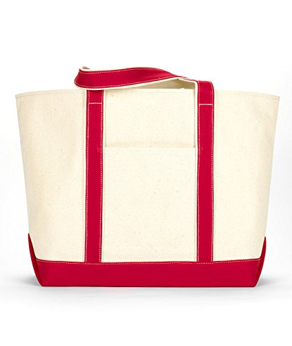 Ultraclub 8872 Extra-Large Canvas Boat Tote Bag - Natural & Red