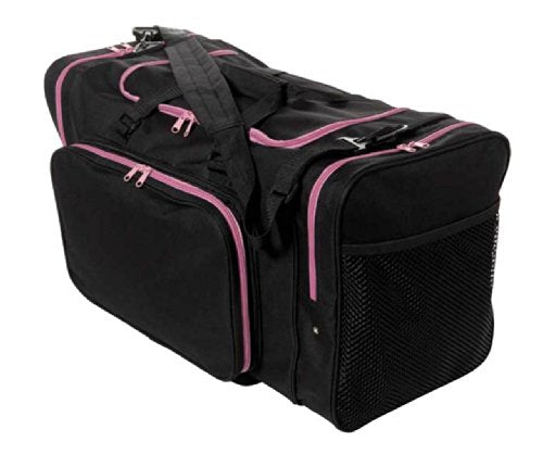 "Sassi Designs Team Black 24"" Duffel Bag With Pink Zipper Trim"