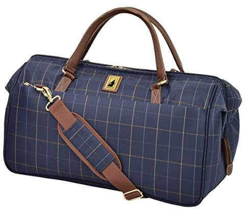 "London Fog Kensington II 20"" Wide Mouth Duffle, Navy Window Pane"