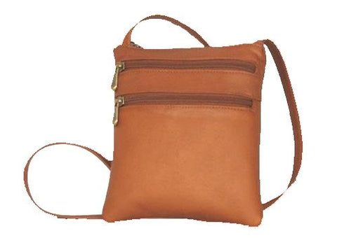 David King & Co. 3 Zip Cross Body Bag 734, Tan, One Size