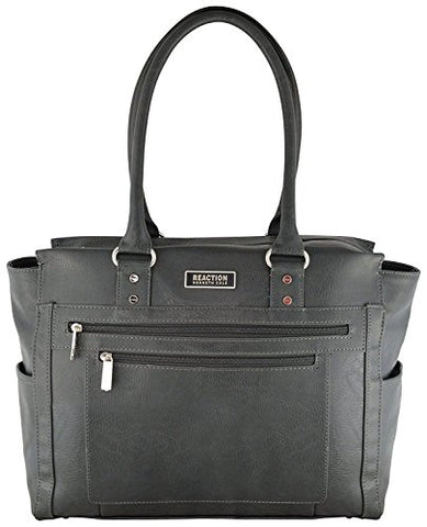 Kenneth Cole Reaction Tote and Tie Single Gusset Top Zip Computer Carry On Tote (Charcoal)