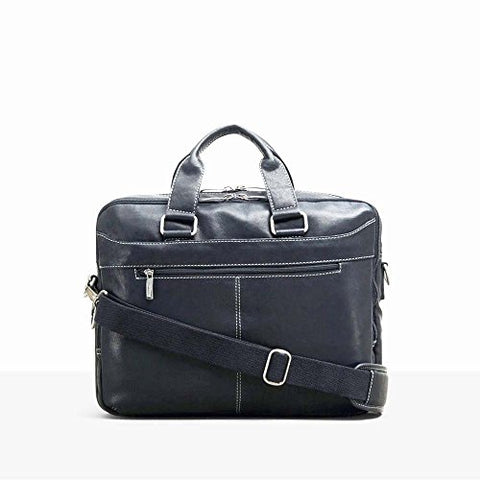 "Kenneth Cole ""Take The Op-Port-unity"" Leather Double Gusset 15.6"" Laptop Briefcase (Black)"