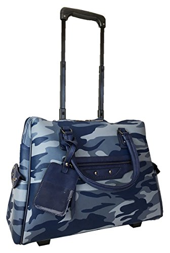 "Trendy Flyer 20""L Computer/Laptop Bag Tote Duffel Rolling Wheel Case Purse Carry Camo Blue"