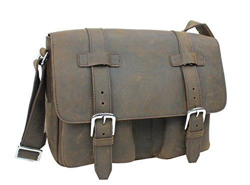 Vagabond Traveler Full Grain Leather Casual Messenger Bag L73. Distress