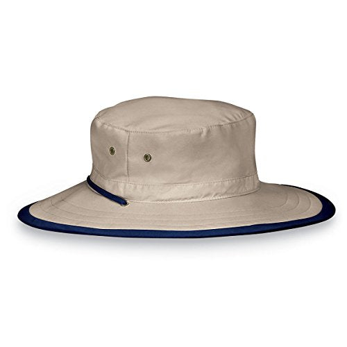 Wallaroo Hat Company Explorer Sun Hat – Natural - UPF 50+, Unisex, Ready for Adventure, Designed in Australia - Camel/Navy, Large/Extra Large