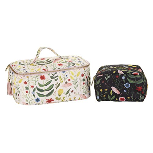 C.R. Gibson Women's Pretty Floral 2-Piece Lined Travel Makeup Case & Cosmetic Bag Set