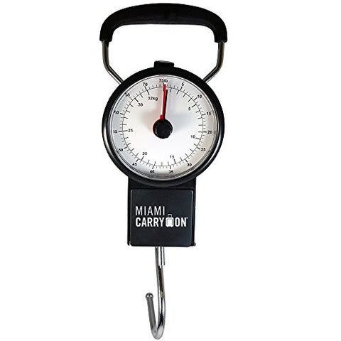 Miami CarryOn Mechanical Hanging Luggage Scale with a Built-in Tape Measure