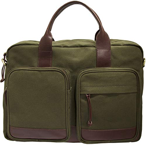 "Mancini Single Compartment 15.6"" Laptop Briefcase in Olive - Brown Trim"