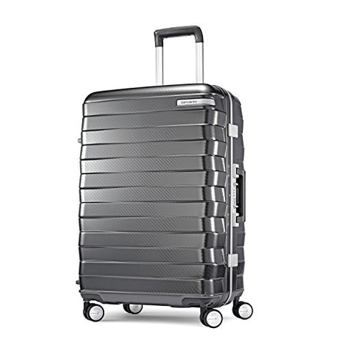 Samsonite Framelock Hardside Checked Luggage With Spinner Wheels, 25 Inch, Dark Grey