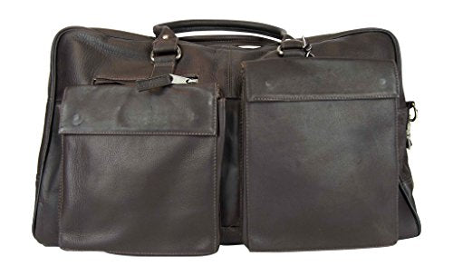 Latico Leathers Basics Two Pocket Duffel , Authentic Luxury Leather, Designer Fashion, Top Quality Leather, Cafe, one size